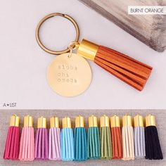 Get your Alpha Chi Omega Tassel on with this cute Alpha Chi Omega Sorority Keychain. Available in an assortment of tassel colors from www.alistgreek.com. Makes a great initiation. bid day or big/little gift! #alphachiomega