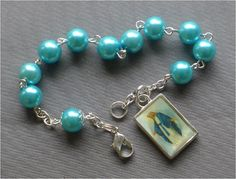 Handmade Our Lady of Grace  8mm Blue Pearl by JaysReligiousGifts