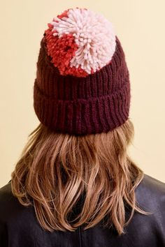 d40a9c66940 Mixed Big Pom Pom Knit Beanie Hat - Hats - Bags   Accessories