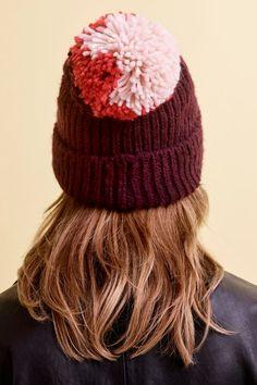 db25defb072 Mixed Big Pom Pom Knit Beanie Hat - Hats - Bags   Accessories
