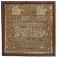 """Dated 1828 Fanny M Forester Sampler. Sampler measures 17.25 in. high x 16.25 in. wide, has a house with trees, alphabet, numbers and reads """"Fanny M. Forester, Age 9 Years, August 6th, 1828""""."""