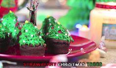 Strawberry Christmas Tree: strawberries, brownies, frosting, green food dye, mini pearls, red candies