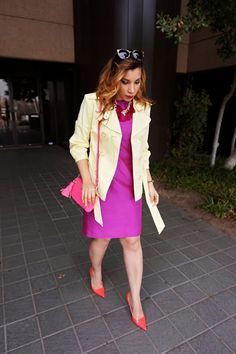 Yellow and purple outfit, pink and purple outfit, lilly Pulitzer dress, Rebecca minkoff tassel clutch, jimmy choo pink pumps, yellow trench coat, ditto sunglasses use code reddirtglitter, spring style, preppy