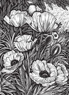 Flower art design coloring pages ideas Lino Art, Woodcut Art, Linocut Prints, Motif Art Deco, Scratchboard Art, Ink Pen Drawings, Doodle Art, Flower Art, Art Projects