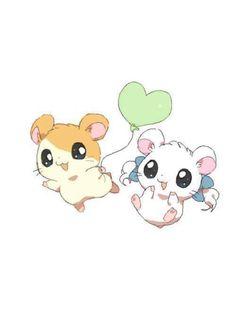 Hamtaro and Bijou. Omg I used to be obsessed with Hamtaro! Art Kawaii, Kawaii Chibi, Cute Chibi, Anime Kawaii, Anime Chibi, Manga Anime, Pokemon, Pikachu, Kawaii Drawings