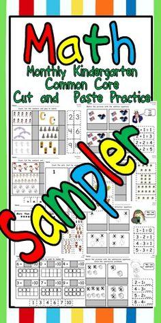 FREE Kindergarten Cut and Paste Common Core Math Practice SAMPLER  :)