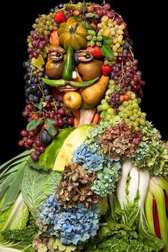 klaus-enrique  after Arcimboldo - This piece is so lovely!  It reminds me of King Charles I.  Savoy cabbage, hygrandeas, clusters of grapes, pears, pumpkin, and many other luscious fruits & flowers