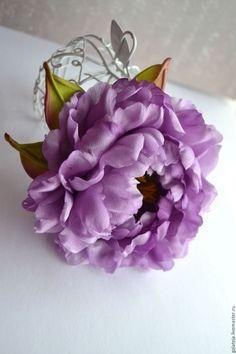 Купить Цветы из шелка Брошь-заколка Пион Сиреникс - бледно-сиреневый, пион, пион из ткани