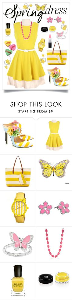 """""""Yellow Spring Dress with Hint of Pink"""" by giovanina-001 ❤ liked on Polyvore featuring Giannico, Splendid, Boum, Marc by Marc Jacobs, Kim Rogers, Deborah Lippmann, Givenchy and MAC Cosmetics"""