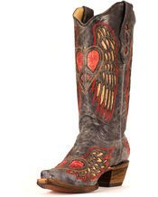 Corral Women's Black/Antique Saddle WIng & Heart Boot - A1975   Corral Ladies Fancy Inlay Western Boot with Antique Black Foot with Fancy Inlayed Wing and Heart and 13 Inch Antique Black Top with Fancy Inlayed Wing and Heart featuring a Cushion Insole for all day comfort. *I want these boots so bad!!! Hint Hint!!   From  countryoutfitter.com