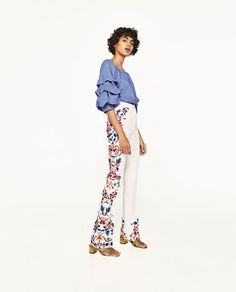 Image 4 of SIDE PRINTED FLARED TROUSERS from Zara