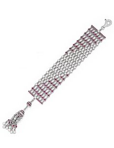 18 Karat White Gold, Diamond and Ruby Bracelet, Graff Of flexible design, set with round diamonds weighing approximately 10.00 carats and round rubies weighing approximately 11.25 carats, the clasp supporting a tassel, length 7 inches, signed Graff, numbered 3051.