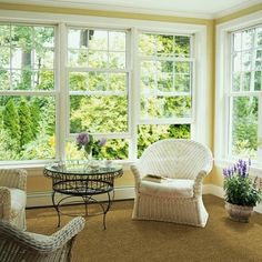 The conservatory furniture looks awesome every time. It is the best option to use conservatory furniture for your home decor. Although, you need to spend much amount of money for the quality furniture Sunroom Windows, Windows In Living Room, Sunroom Decorating, Decorating Ideas, Sunroom Ideas, Porch Ideas, Sunroom Addition, Cozy Living Spaces, Low Pile Carpet