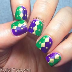 Mardi Gras nails featured on A Painted Nail blog #mcpolish
