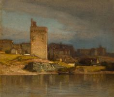 """Old Tower at Avignon,"" Samuel Colman, ca. 1875, oil on canvas, 8 x 9 5/16"", The Art Institute of Chicago."