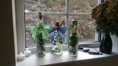Sea glass in recycled bottles collected on the beach. With cork and checked ribbons in green and blue. Sea Glass Art, Sea Glass Jewelry, Glass Vase, Artwork For Home, Recycled Bottles, Coastal Decor, Ribbons, Cork, Recycling