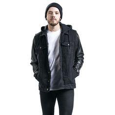 Urban Classics Džínsové rifle -Hooded Denim Leather Imitation Jacket- -- Koupit nyní v EMP -- Více Neformální oblečení Džínsové bundy dostupných online - Nejlepší ceny!