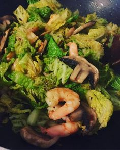 Savoy cabbage and prawn stir-fry. Toss it in a pan with chilli paprika and coconut oil. Quick and easy and packed full of vitamin K vitamin C and B6. Superhero bones glowing skin and a healthy disposition all in one go! #ketogenic #lchf #onajourney #foodporn #delicious - Inspirational and Motivational Ketogenic Diet Pins - Eat Keto Get Into Nutritional Ketosis - Discover LCHF to Prevent Diseases - Enjoy Low-Carb High-Fat Lifestyle For Better Health