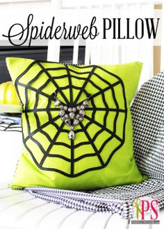 Positively Splendid {Crafts, Sewing, Recipes and Home Decor}: Spiderweb Pillow Tutorial