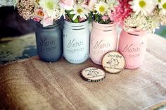 Valentines Day Decor - Preppy Pink - Home Decor - Painted Mason Jars - Vases - Gift for Her