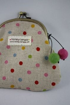 Cotton Linen polka dot pouch with felt balls by HoneyCanada, $20.00 Polka dot pouch with felt balls. Cute linen & cotton Japanese fabric. You will love this pouch ! About 13cm/5 inches in height.
