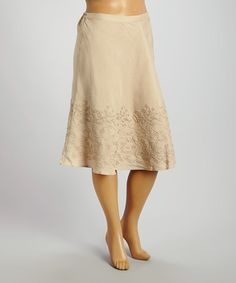Look what I found on #zulily! Natural Floral Embroidered A-Line Skirt - Plus #zulilyfinds