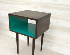 READY to SHIP The Side Table Mid Century Modern Side Table Chocolate and TEAL Furniture Midcentury Bed Side Table End Table