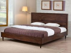 Vilas contemporary King Size solid Wood software Bed Frame