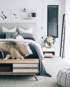 Stylish modern bedroom. Looking for a handy end-of-bed bench? Try: http://www.naturalbedcompany.co.uk/product-category/bedroom-furniture/end-of-bed-storage/