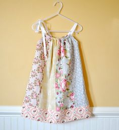 An easy Pillowcase Dress made from fat quarters.  So cute! #sewing #dress