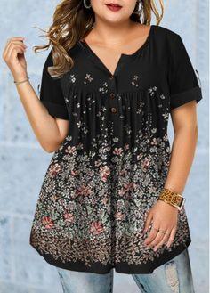 Plus Size Tops For Women Plus Size Roll Tab Sleeve Floral Print Blouse Plus Size T Shirts, Plus Size Blouses, Plus Size Tops, Plus Size Women, Sexy Women, Fashion Outfits, Womens Fashion, Fashion Clothes, Fashion Shoes