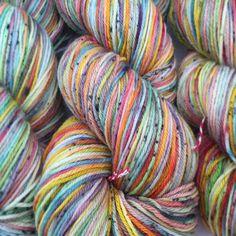 4 ply Sock yarn Rainbow sherbet superwash merino 100g hand dyed yarn, variegated yarn, indie yarn,speckled yarn