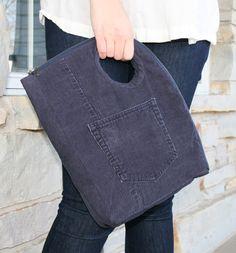 Repurposed Corduroy Zip Bag Denim Blue por FoundObjectFashion, $68.00