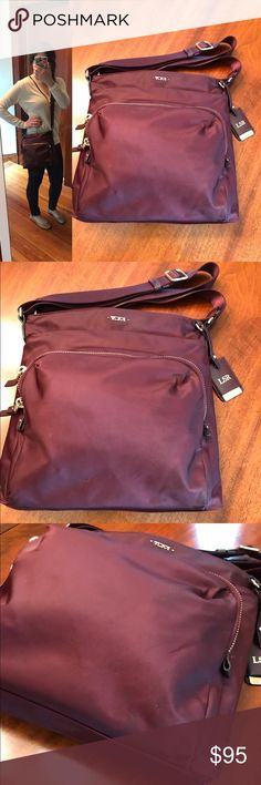 Tumi Voyageur Crossbody in Merlot Tumi Voyageur crossbody bag in merlot with patterned lining. Gold hardware. Amazing bag with a surprising amount of space and great organizational pockets. Bag is ok great condition, but there is some discoloration in the outer merlot nylon due to exposure to rain and such- see pictures for a better idea. Interior is very clean. Top zip closure, adjustable crossbody strap, ID tag (has my initials, but is removable), exterior zip and slip pockets, interior…