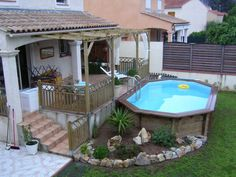 Above Ground Pool Landscaping, Backyard Pool Landscaping, Small Backyard Pools, Backyard Patio Designs, Backyard Retreat, Best Above Ground Pool, In Ground Pools, Swimming Pools Backyard, Swimming Pool Designs