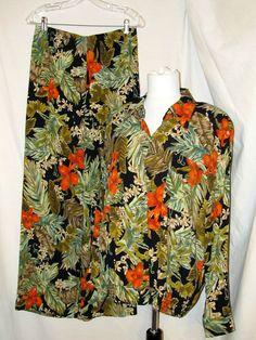 Sz 12 Carole Little Matched Set Long Sleeve Shirt Pants Tropical Print Black #CaroleLittle #MatchedSetShirtJacketPants