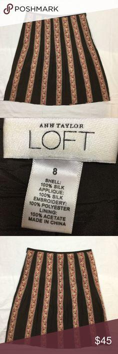 LOFT Silk Skirt, Vertical Stripe 100% Silk. Side Zipper. 24 inches long when laid flat. Offers welcome. (A) LOFT Skirts