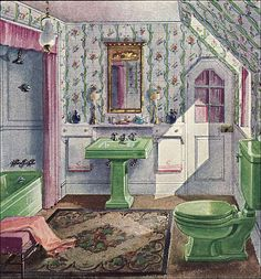 1929 Crane Bathroom - Vintage Plumbing Fixtures - Pretty Green Fixtures in a Lavender, Floral Bathroom 1920s Bathroom, Art Deco Bathroom, Vintage Bathrooms, Bathroom Green, Bathroom Plants, Vintage Room, Style Vintage, Vintage Decor, Vintage Homes