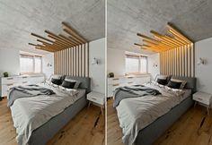 Cabeceira de madeira cobre a parede e se transforma em luminária