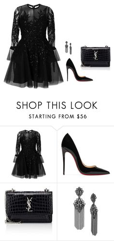 """Untitled #127"" by yasminkoff ❤ liked on Polyvore featuring Elie Saab, Christian Louboutin, Yves Saint Laurent and Marchesa"