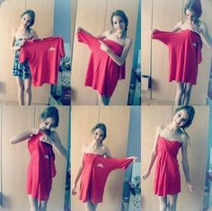 Make instant dress from oversized t-shirt. . . click on pic to see more