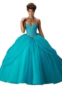 40380cb68e Chupeng Women s Sweetheart Spaghetti Straps Ball Gowns Silvery Beaded  Quinceanera Dresses Blue 2 at Amazon Women s Clothing store
