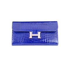 Constance Wallet in Bright Blue Crocodile, Hermes