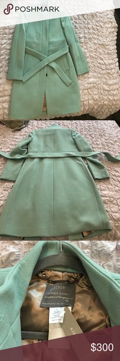 NWT J Crew Double Cloth wool funnel coat sz 2 Sold out color in Neptune green. J. Crew Jackets & Coats