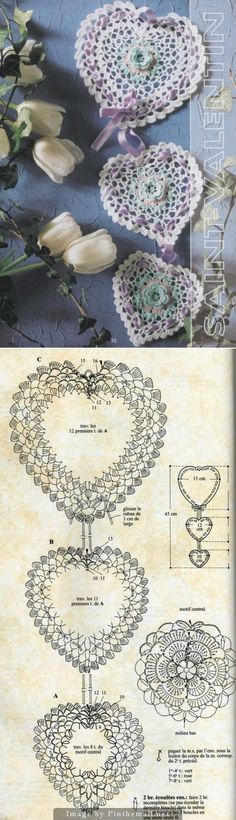 Crochet heart motif with pattern