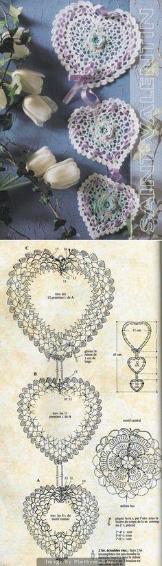 Crochet heart motif with pattern