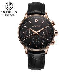 OCHSTIN Men Military Sport Wrist Watch Chronograph Leather Quartz Watch