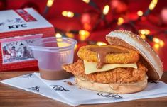 KFC launches Christmas burger with hash brown gravy boat | Metro News Kfc Christmas, Kfc Restaurant, Ice Cream Swirl, Burger Box, Galaxy Chocolate, Coconut Chutney, Beef Patty, Fast Food Chains, Menu Items