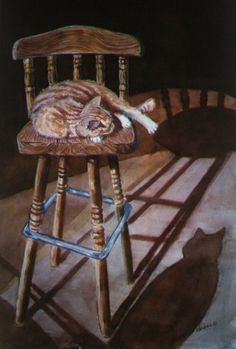 """""""His Place in the Sun""""  24x36 watercolor   Rusty has since passed on, having been  with us almost 15 years-this painting was   1ST AND BEST OF SHOW WINNER  $99.00 sent rolled up paypal only"""