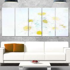 DESIGN ART Designart 'White Gerbera Flowers on Light ' Floral Glossy Metal Wall Artwork